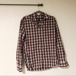 Men's button down shirt. Red and black checkered.